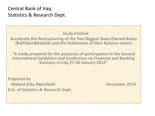 Central Bank of Iraq Statistics & Research Dept.