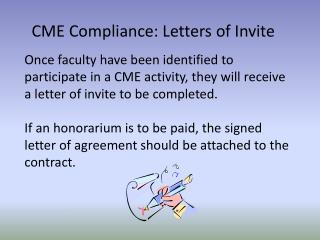 CME Compliance:  Letters  of Invite