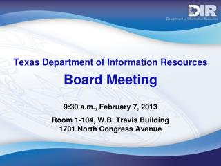 Texas Department of Information Resources Board Meeting