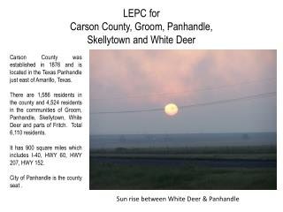 LEPC for  Carson County, Groom, Panhandle,  Skellytown and White Deer