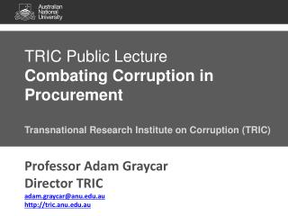TRIC Public Lecture Combating Corruption in Procurement