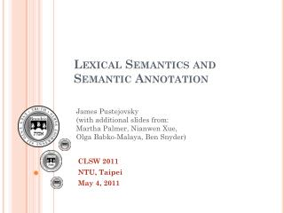 Lexical Semantics and Semantic Annotation