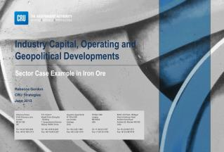 Industry Capital, Operating and Geopolitical Developments