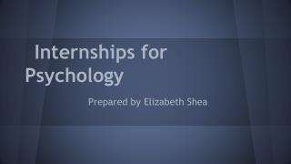 Internships for Psychology