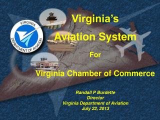 Virginia's Aviation System For Virginia Chamber of Commerce Randall P Burdette Director Virginia Department of Aviation