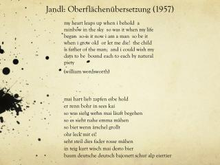 Jandl: Oberflächenübersetzung (1957)