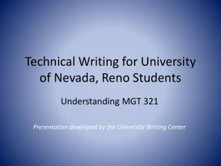 Technical Writing for  University of Nevada, Reno  Students