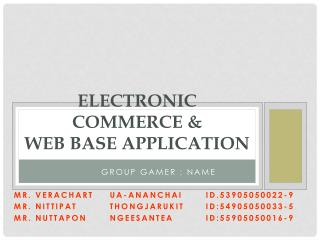 Electronic  commerce &  Web base Application
