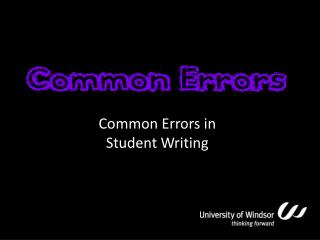 Common Errors in Student Writing