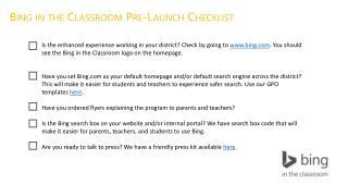 Bing in the Classroom Pre-Launch Checklist