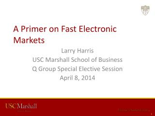 A  Primer on  Fast  Electronic Markets
