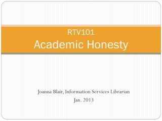 RTV101 Academic Honesty