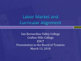 Labor Market and  Curricular  Alignment