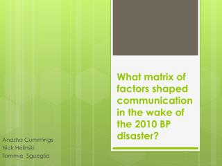 What matrix of factors shaped communication in the wake of the 2010 BP disaster?