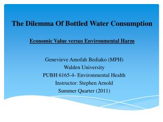 E conomic  V alue versus Environmental  H arm