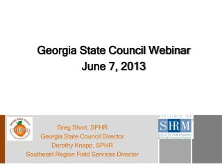 Georgia State Council Webinar June 7, 2013