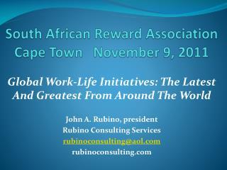 South African Reward Association Cape Town   November 9, 2011