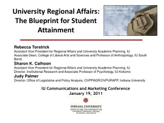 University Regional Affairs: The Blueprint for Student Attainment