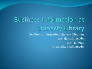 Business Information at Doherty Library