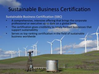 Sustainable Business Certification