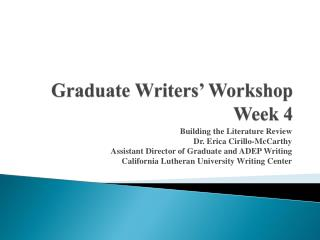 Graduate Writers' Workshop Week  4
