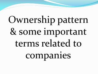 Ownership pattern & some important terms related to companies