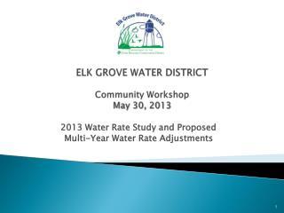 ELK GROVE WATER DISTRICT  Community Workshop  May 30, 2013