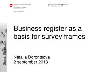 Business register as a basis for survey frames