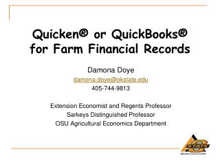 Quicken®  or QuickBooks®  for  Farm Financial Records