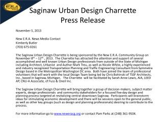 Saginaw Urban Design  Charrette Press Release