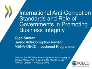 International Anti-Corruption Standards and Role of Governments in Promoting Business Integrity