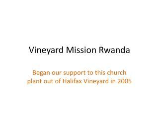 Vineyard Mission Rwanda