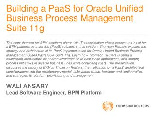 Building a  PaaS  for Oracle Unified Business Process Management Suite 11g