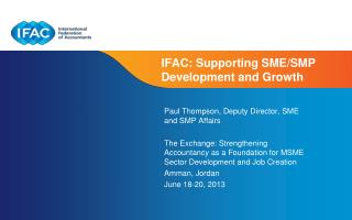 IFAC:  Supporting  SME/SMP  Development and Growth