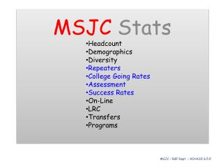 MSJC Stats Headcount Demographics Diversity Repeaters College Going Rates Assessment Success Rates On-Line LRC Transfer