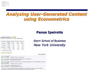 Analyzing User-Generated Content using Econometrics