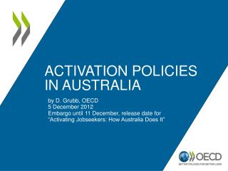 Activation Policies in Australia