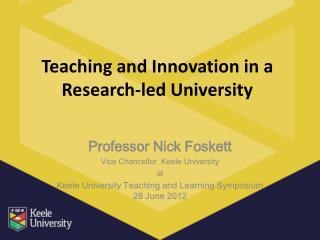 Teaching and Innovation in a Research-led University