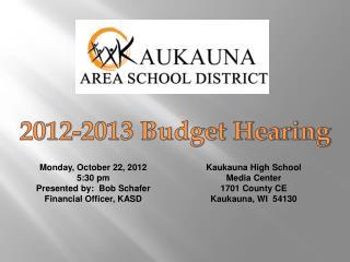 2012-2013 Budget Hearing
