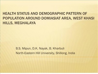 Health Status and Demographic Pattern of Population around ...