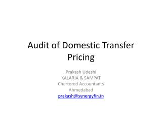 Audit of Domestic Transfer Pricing