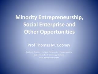 Minority Entrepreneurship,  Social Enterprise and Other Opportunities