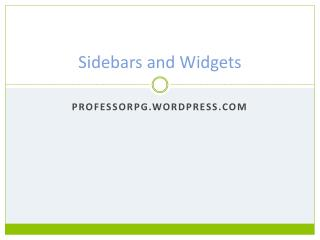 Sidebars and Widgets