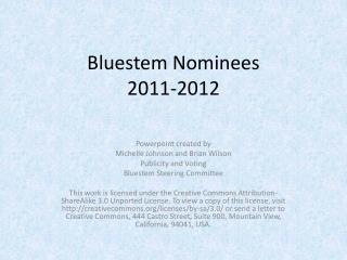 Bluestem Nominees  2011-2012