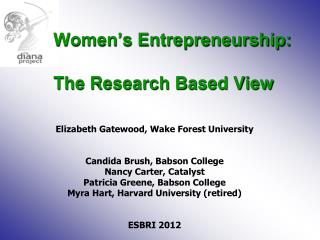 Women's Entrepreneurship: 	The Research Based View