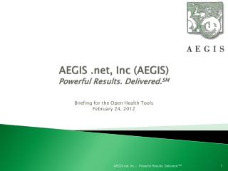 AEGIS  .net , Inc (AEGIS) Powerful Results. Delivered. SM