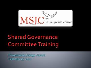 Shared Governance Committee Training