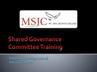Shared Governance Committee Training