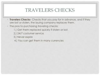 Travelers Checks