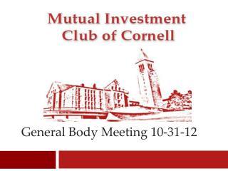 General Body Meeting 10-31-12